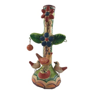 Vintage Mexican Folk Art Terra Cotta Candlestick Holder For Sale