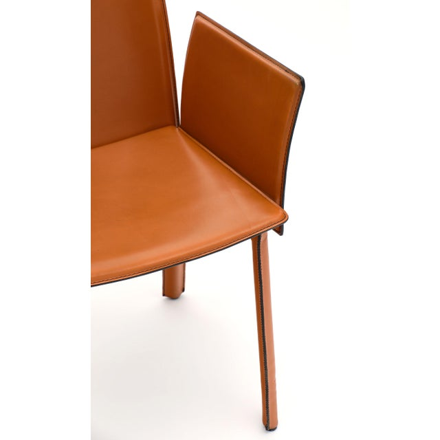 Italian Vintage Modernist Orange Leather Armchairs - a Pair For Sale - Image 3 of 10