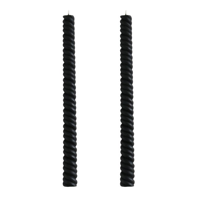 Helix Taper Beeswax Candles in Charcoal - a Pair For Sale