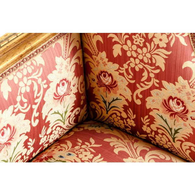 Gold French Louis XVI Style Giltwood Frame Settee For Sale - Image 8 of 13