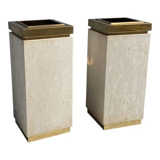 Travertine and Brass Modern Planters - A Pair For Sale