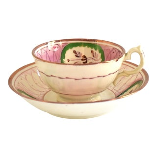 Antique 19th-Century Pink Luster Teacup & Saucer - a Pair For Sale