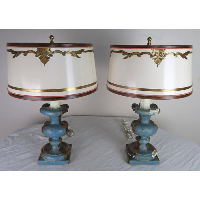 Black Pair of Italian Polychrome Lamps W/ Parchment Shades For Sale - Image 8 of 9