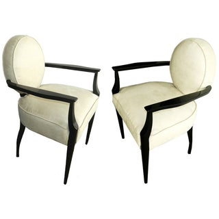 Dominique French Vintage Armchairs - Pair For Sale