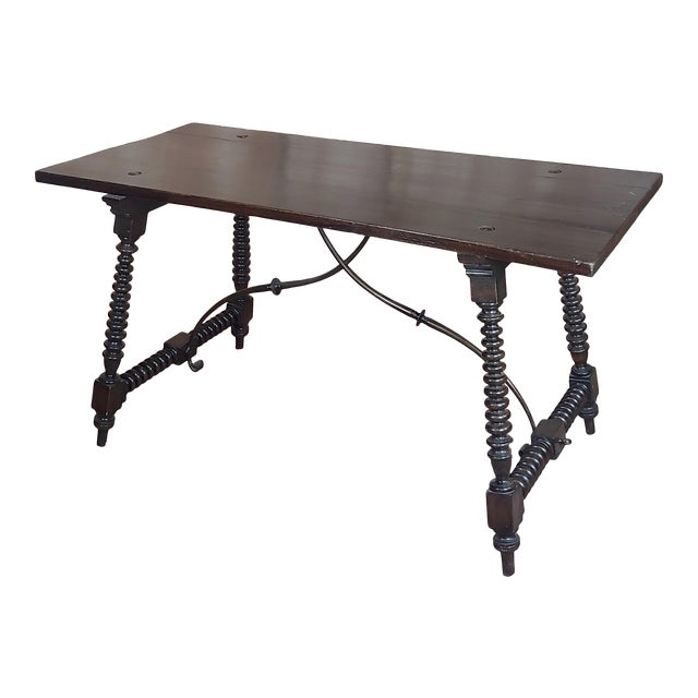 20th Century Spanish Revival Walnut Table With Iron Stretcher Bars For Sale