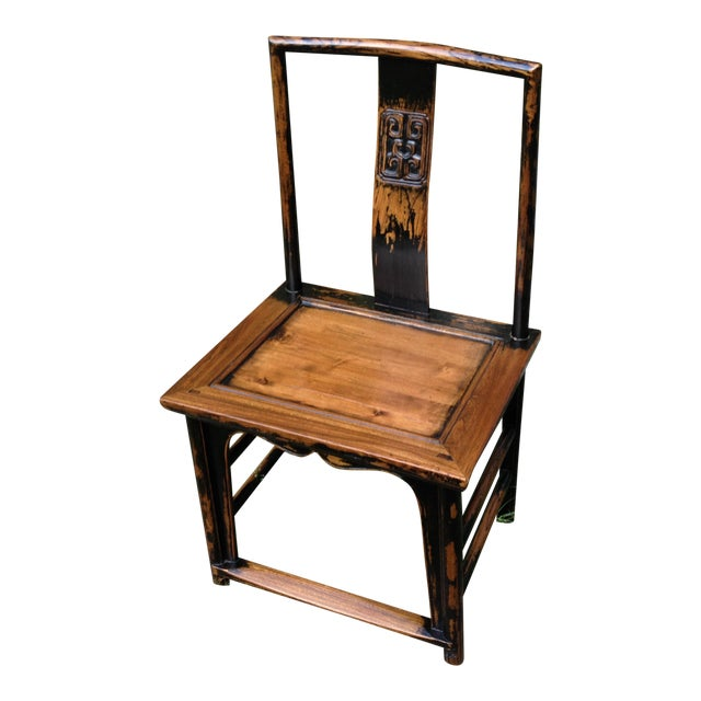 1830s Antique Qing Dynasty Teak Camphor Wood Side Chair For Sale
