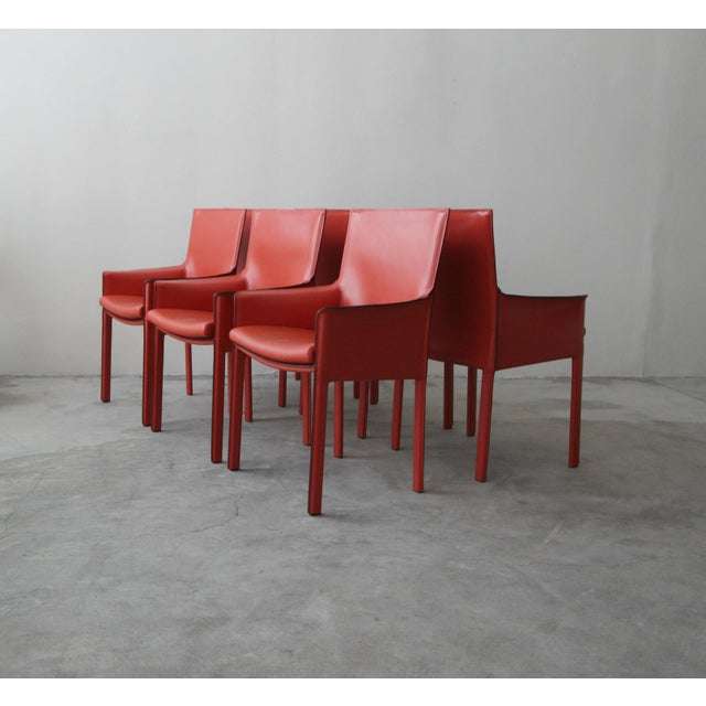 2000 - 2009 Set of 6 Orange Italian Leather Dining Chairs by Enrico Pellizzoni For Sale - Image 5 of 13