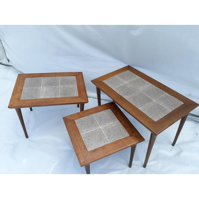 Danish Modern Mahogany and Tile Set of 3 Nesting Tables For Sale - Image 10 of 10