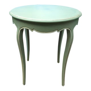 Vintage French Green Wood Side Table For Sale