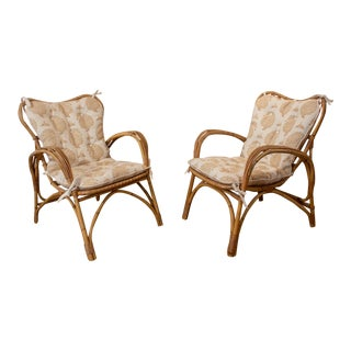 Pair of Mid Century Danish Rattan and Bamboo Lounge Chairs- A Pair For Sale