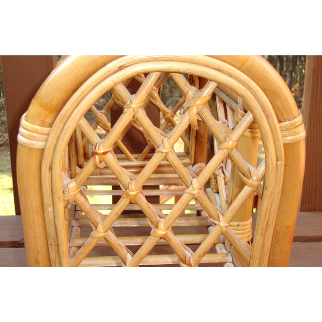 Mid-Century Bamboo Bentwood Rattan Magazine Rack For Sale In Atlanta - Image 6 of 7