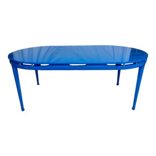 Blue Lacquered Round/Oval Dining Table by White Furniture Co. For Sale