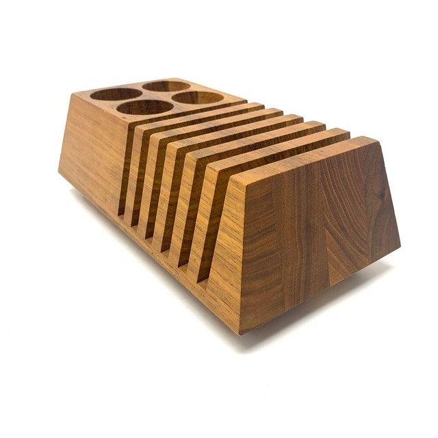Mid-Century Modern Geometric Wooden Desk Organizer For Sale In Sacramento - Image 6 of 13