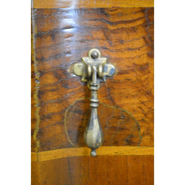 Brown Trouvailles Continental Style Burl Wood Serpentine Chest of Drawers For Sale - Image 8 of 11