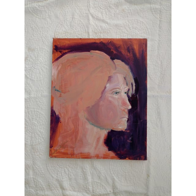 "Purple 1980s ""Stockholm Gaze"" Abstract Acrylic Portrait Painting For Sale - Image 8 of 8"