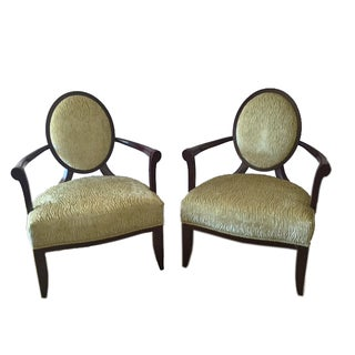 Barbara Barry Oval X-Back Chairs - A Pair For Sale