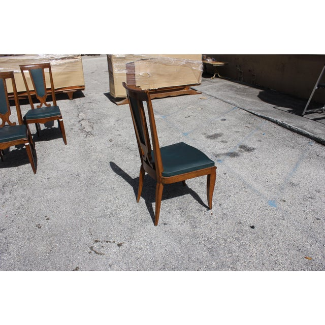 1940s French Art Deco Solid Mahogany Dining Chairs by Jules Leleu - Set of 6 For Sale - Image 12 of 13