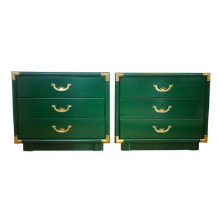 Mid-Century Modern Campaign Lacquered Green Drexel Accolade Nightstands - a Pair For Sale