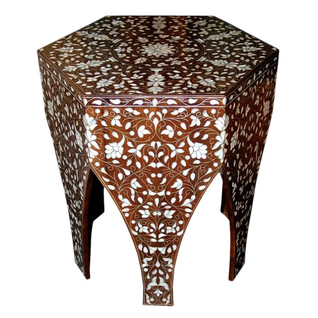 Contemporary Syrian Mother of Pearl Inlaid Side Table For Sale