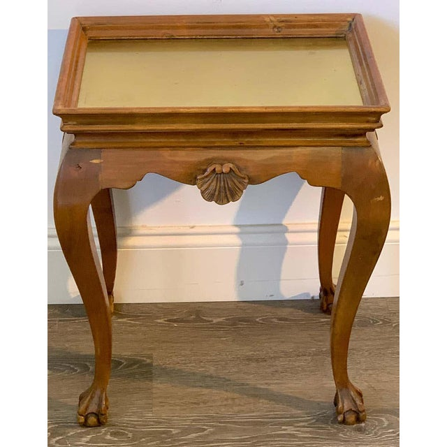 Diminutive Bleached Wood & Brass Side Table For Sale - Image 4 of 7