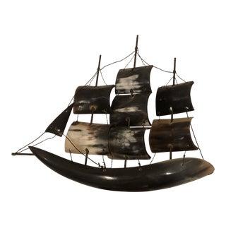 Vintage Horn Ship Model For Sale