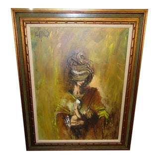 """1960s """"Mother and Child"""" Brutalist Style Figurative Oil Painting by Lee Reynolds, Framed For Sale"""