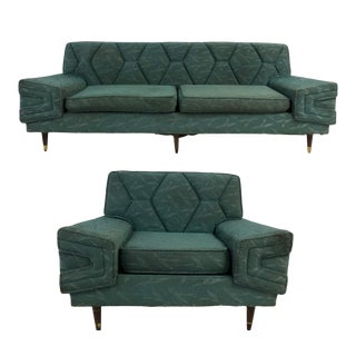 1960s Mid Century Kroehler Style Sofa and Chair For Sale