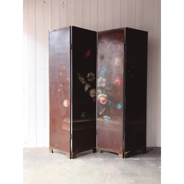 Intricate, beautifully hand painted (unsigned) wood antique screen or room divider. All of the panels separate from each...