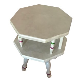 Beige Octagon End Table For Sale
