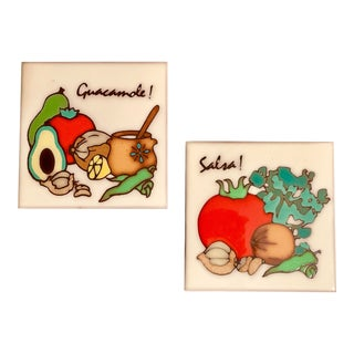 "Modern Vintage Hand-Made ""Salsa and Guacamole' Original Mexican Art Tiles - a Pair For Sale"