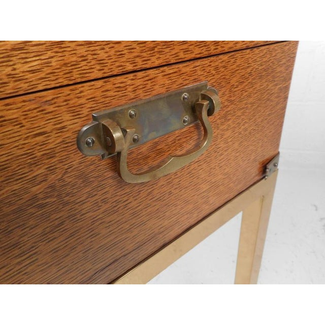 Mid-Century Modern Single Drawer Campaign Style Stand For Sale - Image 10 of 11