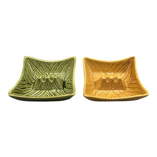Mid Century Ceramic Handmade Mustard and Green Ashtray - a Pair For Sale