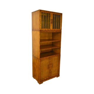 Faux Bamboo & Wicker Vintage Stacking Bookcase Cabinet