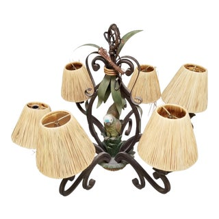 Vintage Wrought Iron Palm Tree Parrot Chandelier For Sale