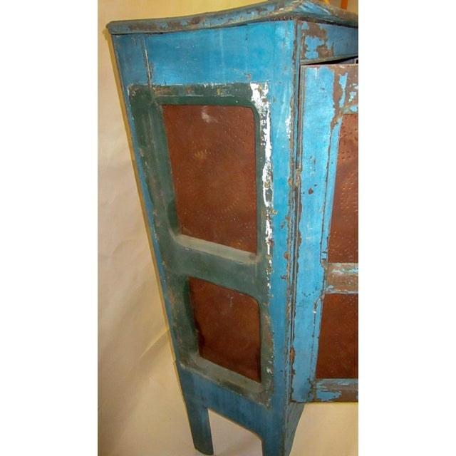 19th Century American Primitive Southern Pie Safe With Distressed Blue Paint For Sale - Image 12 of 13