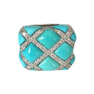 Vintage Persian Turquoise Diamond 18k White Gold Ring For Sale