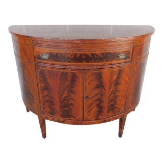 Vintage Grand Rapids Mahogany Federal Hepplewhite Style Server/ Demi Lune Chest For Sale