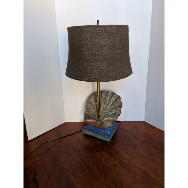 Rustic 19th Century Rustic Hand-Carved Wooden Table Lamp For Sale - Image 3 of 7