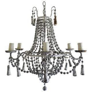 Italian Six-Light Painted Wood Beaded Chandelier For Sale