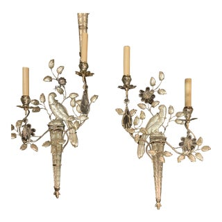 Silver Plated Bird Sconces - a Pair For Sale