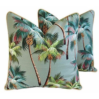 """Tropical Oasis Palm Tree Barkcloth Feather/Down Pillows 24"""" Square - Pair For Sale"""