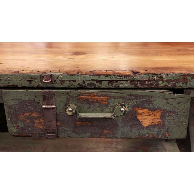 Mid 20th Century Mid 20th Century Vintage Large Industrial Green Painted Work Table For Sale - Image 5 of 8