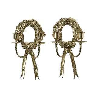 Brass Wreath Sconces, Pair For Sale