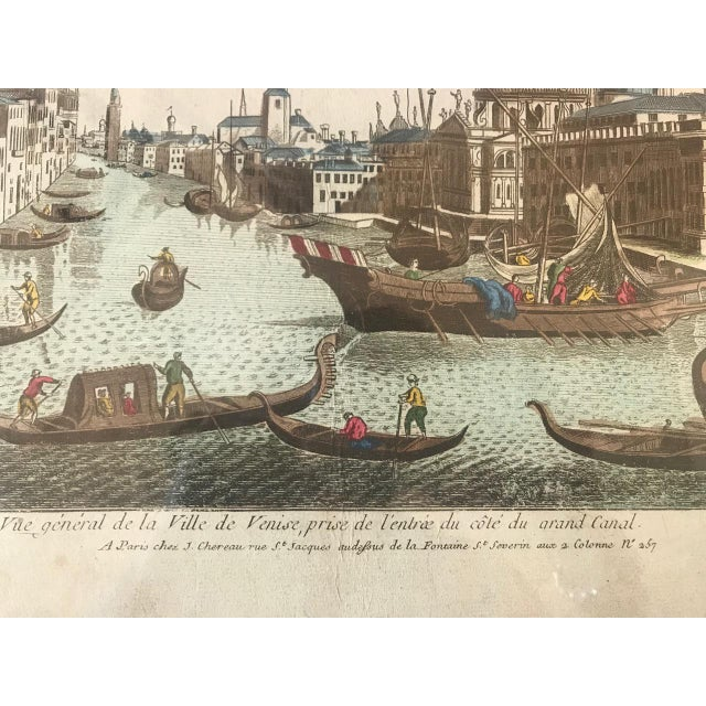 Blue 18th Century Vue D'Optique Hand-Colored Engraving of the Grand Canal, Venice For Sale - Image 8 of 10