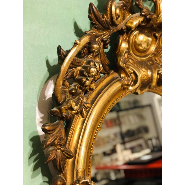 Antique French Gilt Mirror For Sale - Image 4 of 10