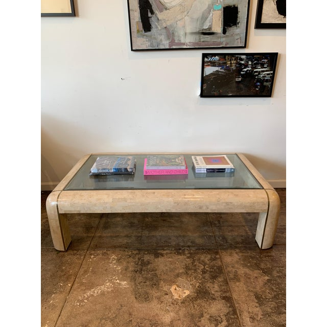 Beige Maitland-Smith RectangleTessellated Stone & Brass Glass Top Coffee Table For Sale - Image 8 of 10