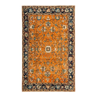 """Traditional Hand-Knotted Floral Wool Rug - 6'3"""" X 9'10"""" For Sale"""