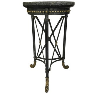 Handsome Neoclassic Marble and Iron Side Table For Sale
