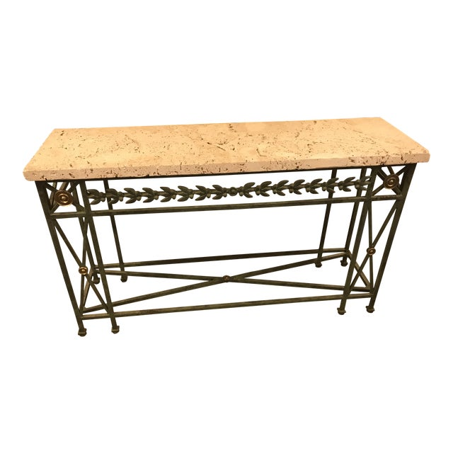 Coral Stone Top, Verdigris Wrought Iron Console, W/ Brass Accents For Sale