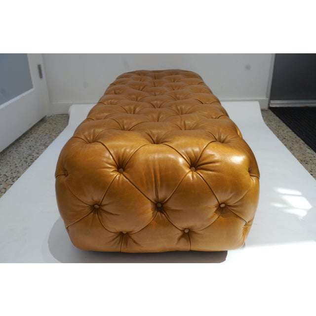 George Smith Vintage George Smith Button Tufted Leather Bench For Sale - Image 4 of 9
